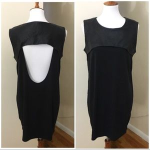 COS leather panel dress with open back
